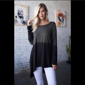 Tops - Gray and Black Oversized Tunic, Size L